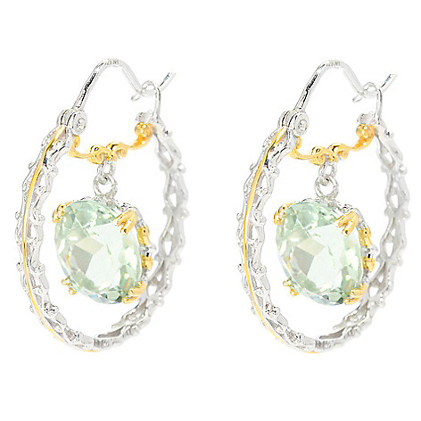 139-705 - Gems en Vogue 1'' 6.66ctw Oval Brazilian Prasiolite Hoop Earrings
