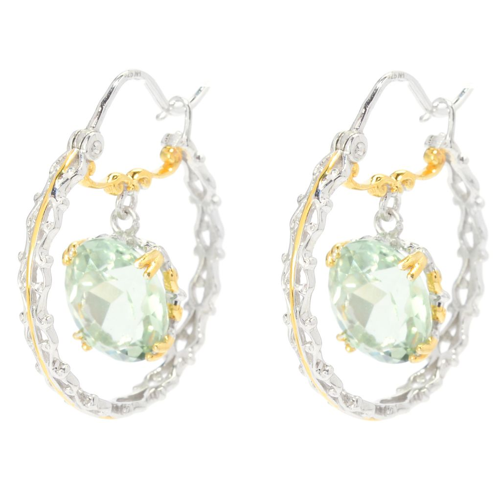 "139-705 - Gems en Vogue 1"" 6.66ctw Oval Brazilian Prasiolite Hoop Earrings"