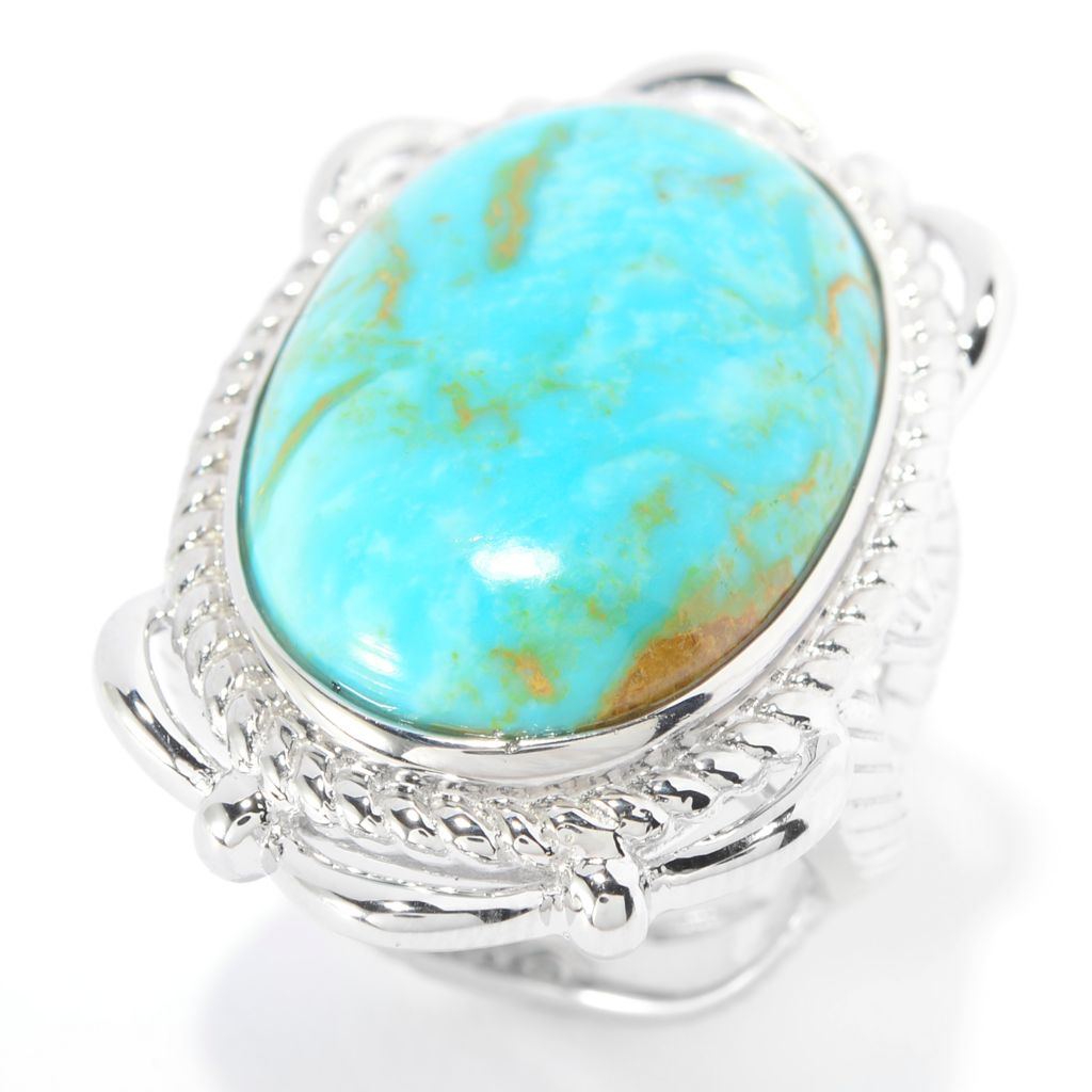 139-706 - Gem Insider Sterling Silver 25 x 17mm Oval Kingman Turquoise Textured Ring