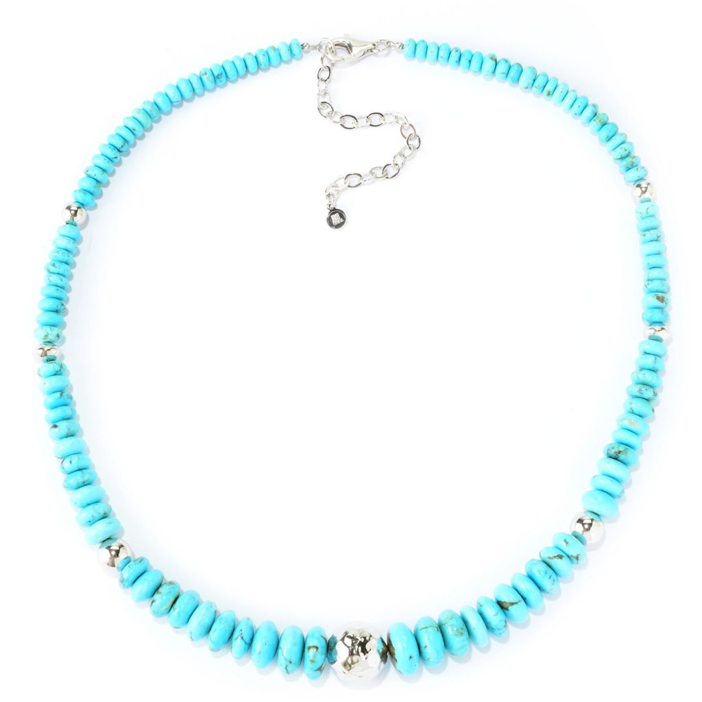 "139-710 - Gem Insider Sterling Silver 18"" Turquoise Beaded Necklace w/ 3"" Extender"