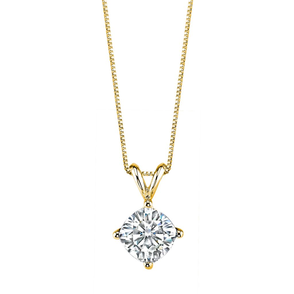 "139-714 - Forever Brilliant® Moissanite 14K Gold Cushion Cut Pendant w/ 18"" Chain"