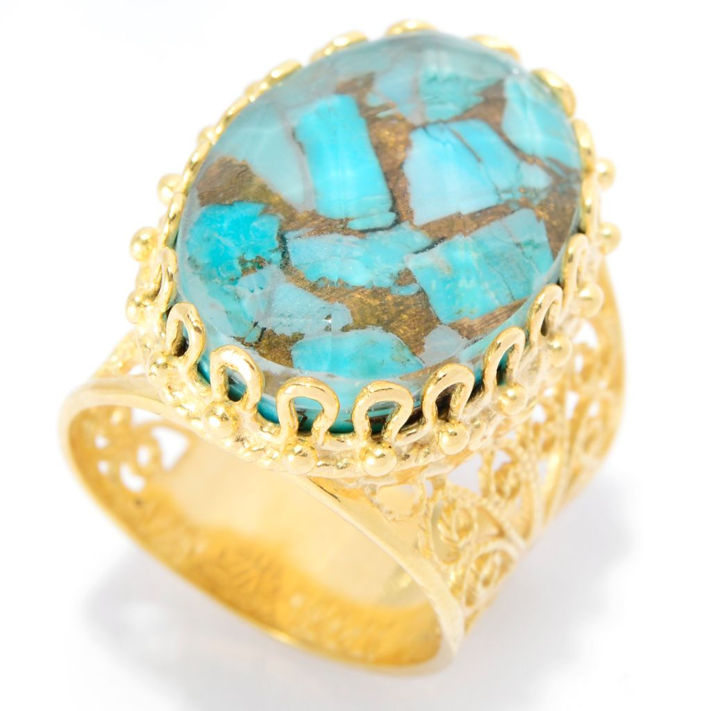 139-722 - Antalia™ Turkish Jewelry 18K Gold Embraced™ Quartz Doublet Filigree Ring
