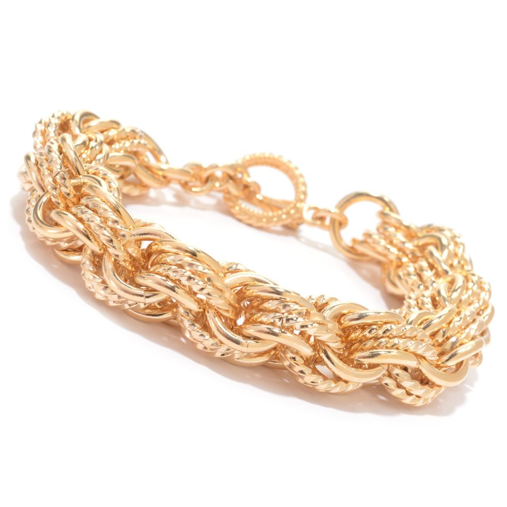 139-725 - Antalia™ Turkish Jewelry 18K Gold Embraced™ Onyx Chain Link Toggle Bracelet