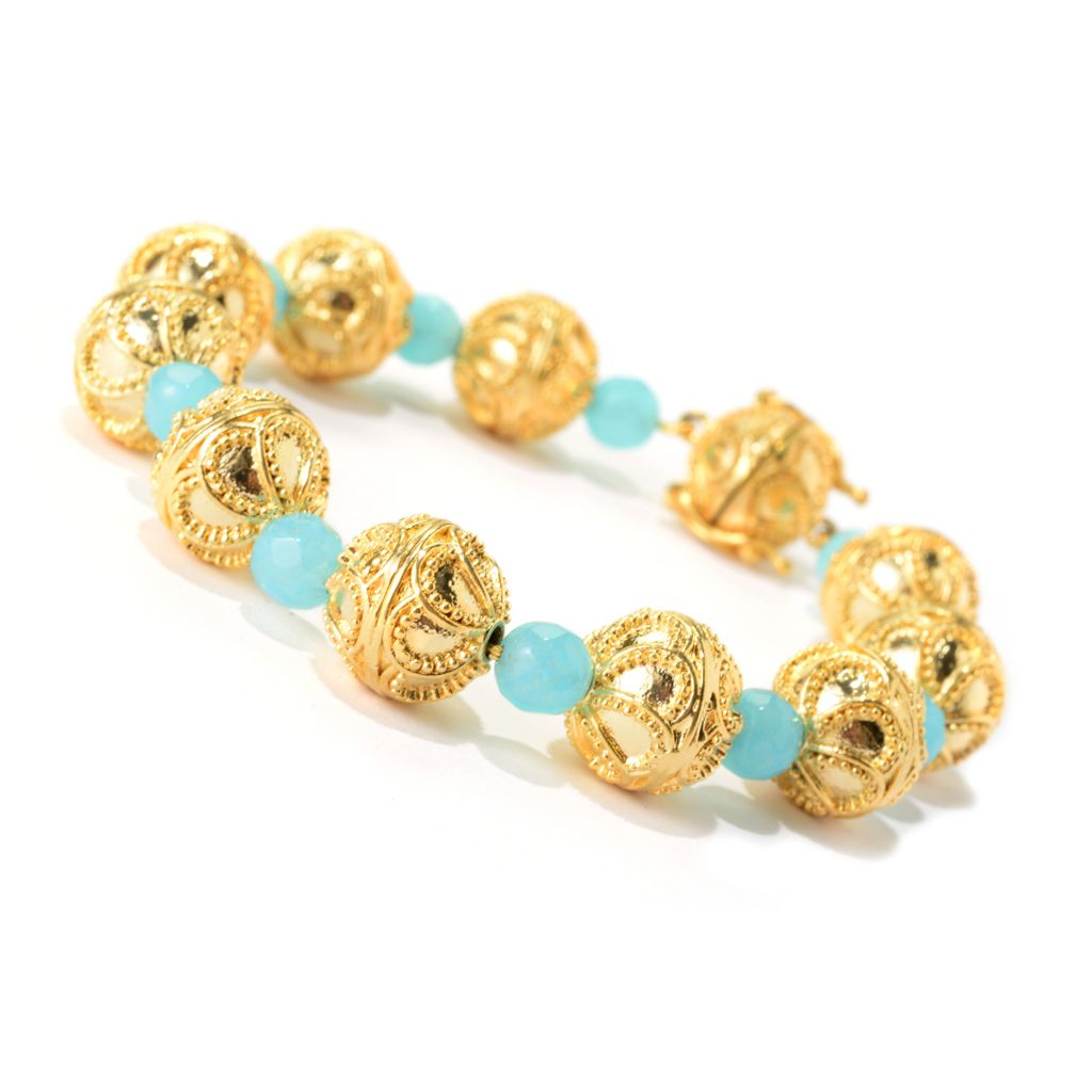 "139-726 - Antalia™ Turkish Jewelry 18K Gold Embraced™ 7.5"" 11mm Gem Station Bracelet"