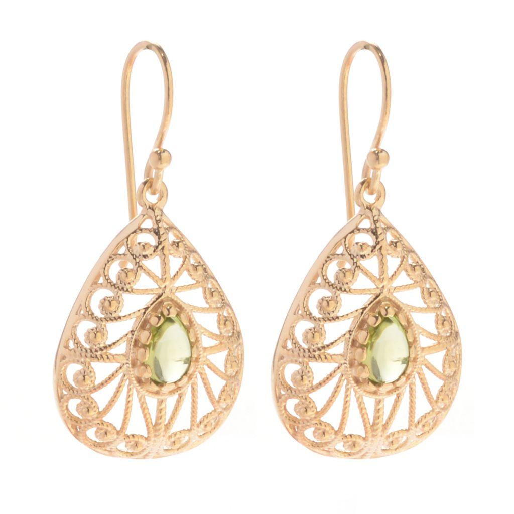 """139-727 - Antalia™ Turkish Jewelry 18K Gold Embraced™  1.25"""" Gemstone Teardrop Earrings"""