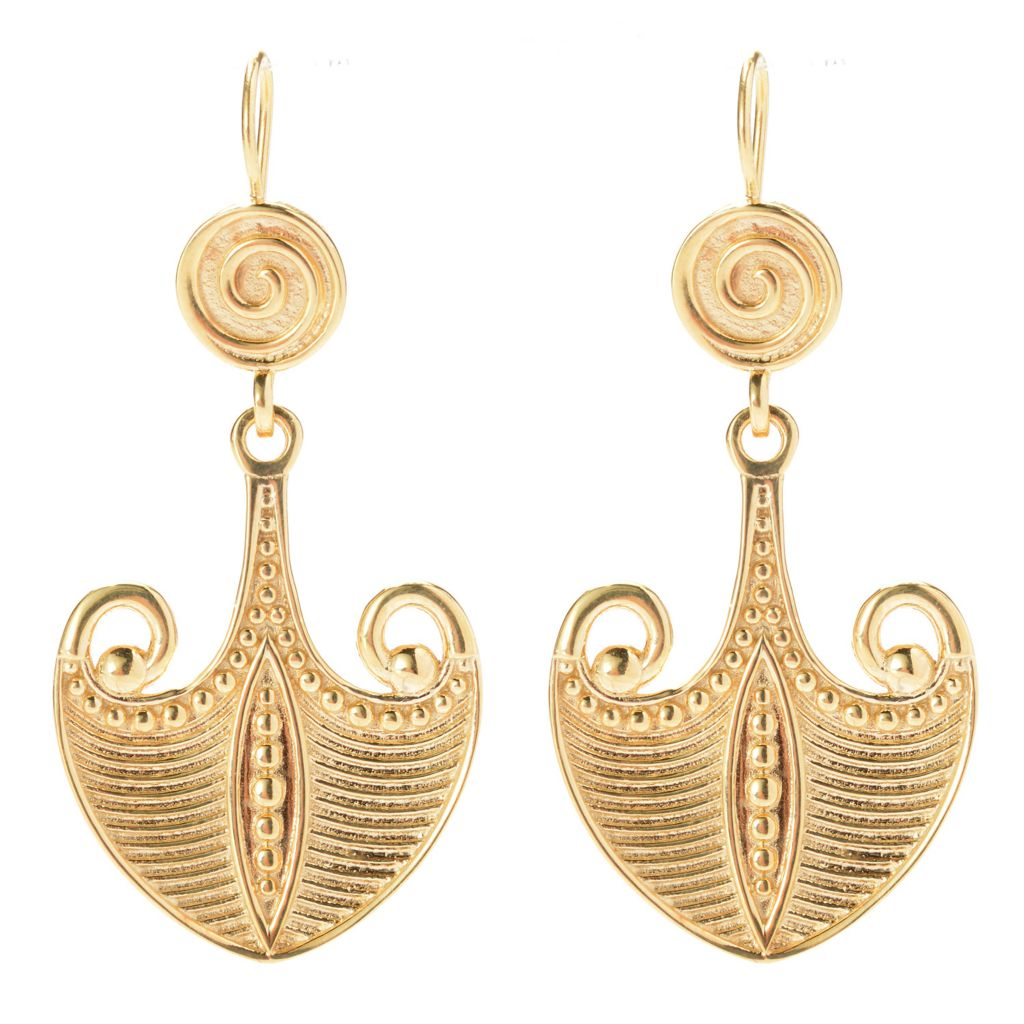 "139-728 - Antalia™ Turkish Jewelry 18K Gold Embraced™ 1.75"" ""Noah's Ark"" Drop Earrings"