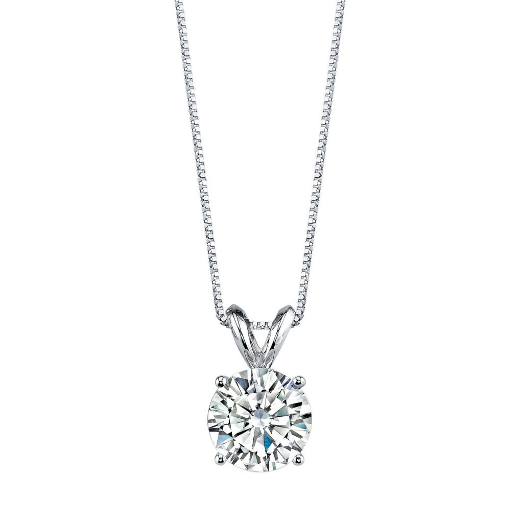 "139-729 - Forever Brilliant® Moissanite 14K Gold Round Cut Pendant w/ 18"" Chain"