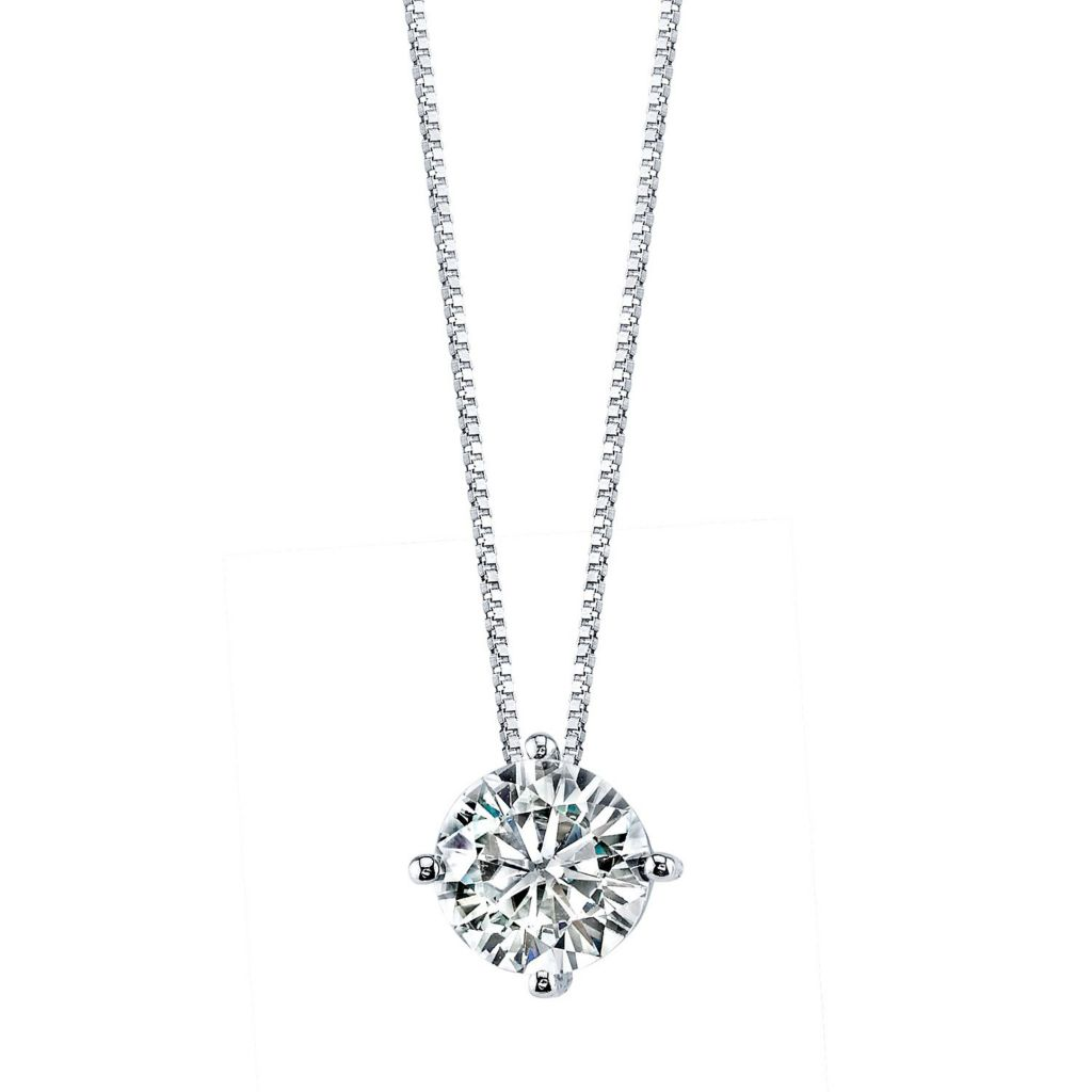 "139-730 - Forever Brilliant® Moissanite 14K Gold Round Cut Pendant w/ 18"" Chain"