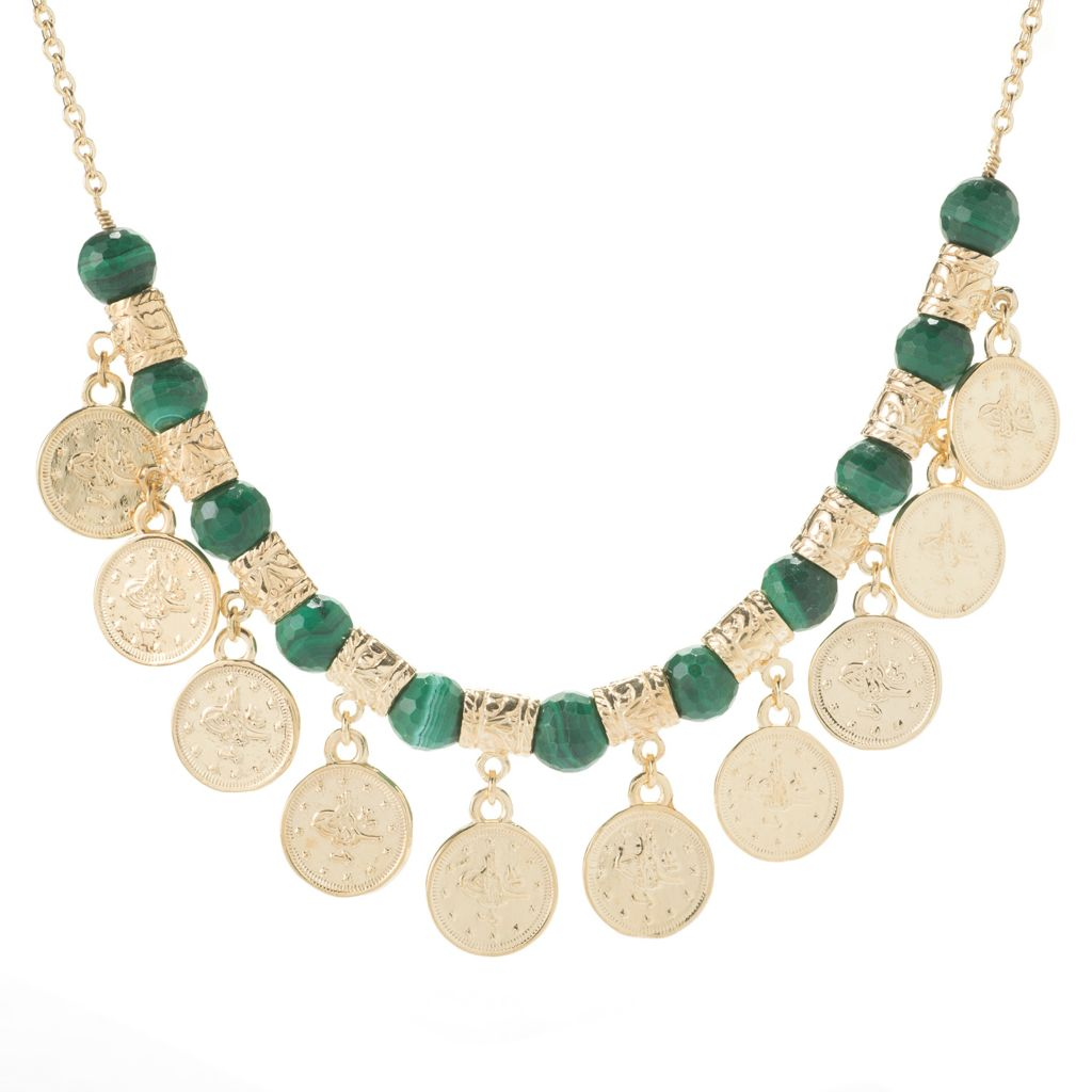 "139-736 - Antalia™ Turkish Jewelry 18K Gold Embraced™ 18"" Gem & Coin Charm Necklace"