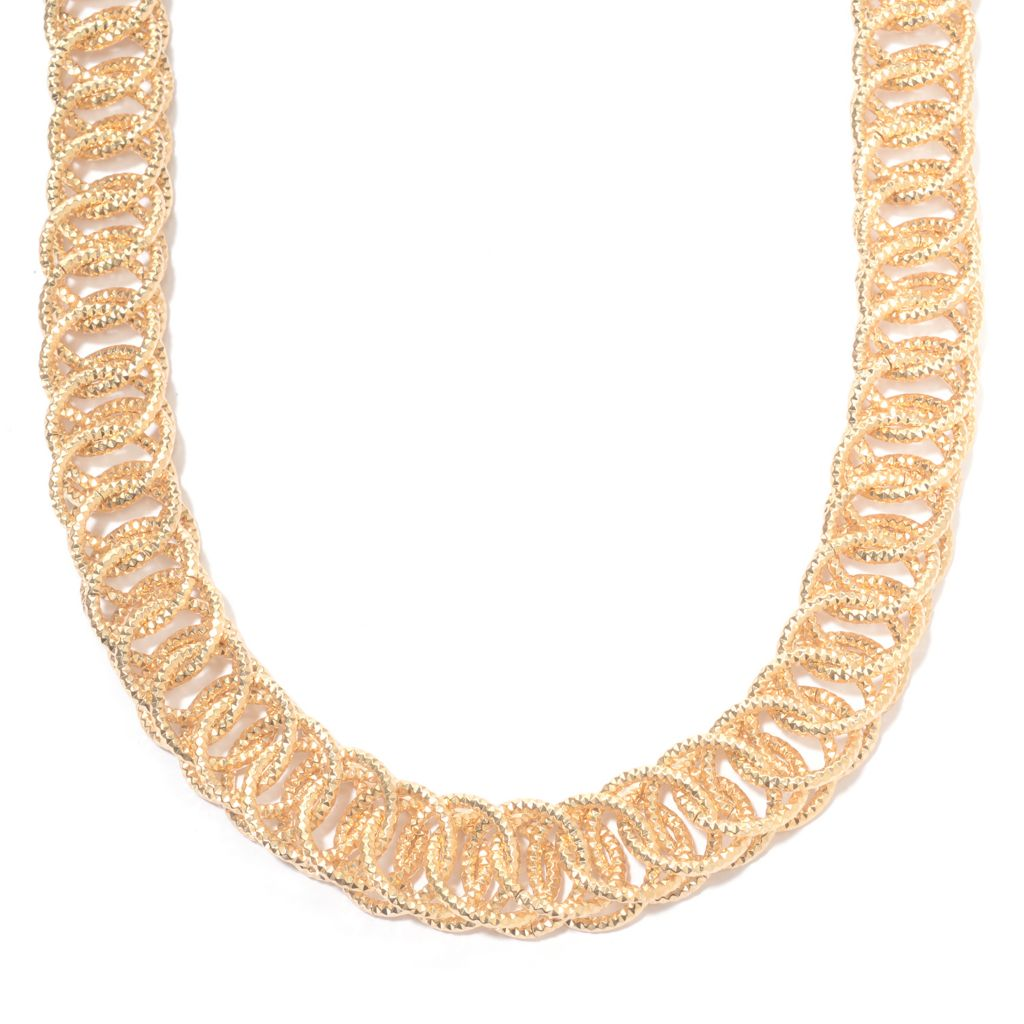 139-737 - Antalia™ Turkish Jewelry 18K Gold Embraced™ Fancy Chain Link Toggle Necklace