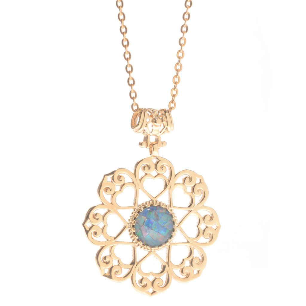 139-738 - Antalia™ Turkish Jewelry 18K Gold Embraced™ 14mm Mosaic Opal Triplet Pendant
