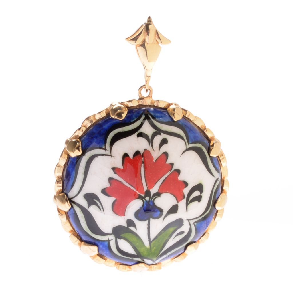 139-739 - Antalia™ Turkish Jewelry 18K Gold Embraced™ Hand-Painted Flower Ceramic Pendant