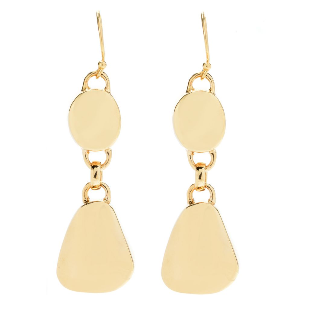 "139-740 - Antalia™ Turkish Jewelry 18K Gold Embraced™ 2.25"" Nugget Drop Earrings"