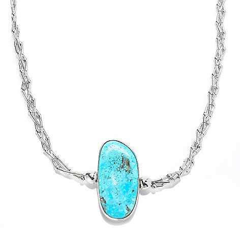 139-743 - Gem Insider Sterling Silver 18'' Reversible Kingman & Carico Lake Turquoise Necklace