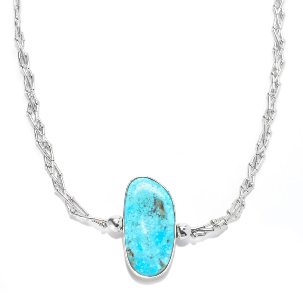 "139-743 - Gem Insider Sterling Silver 18"" Reversible Kingman & Carico Lake Turquoise Necklace"