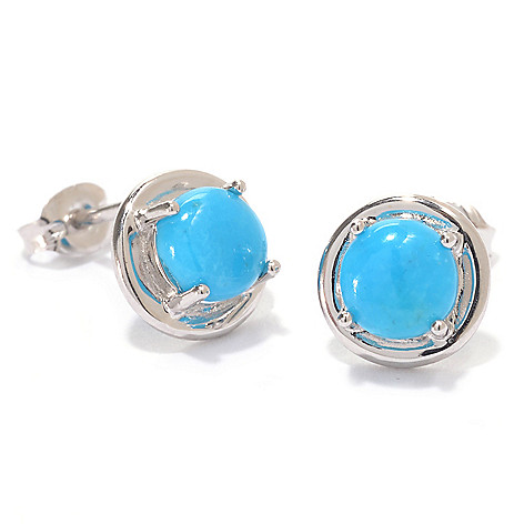 139-744 - Gem Insider Sterling Silver Choice of Kingman or Carico Lake Turquoise Earrings