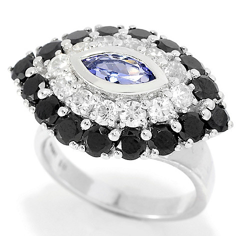 139-746 - Gem Treasures® Sterling Silver 4.12ctw Tanzanite & Multi Gemstone Evil Eye Ring