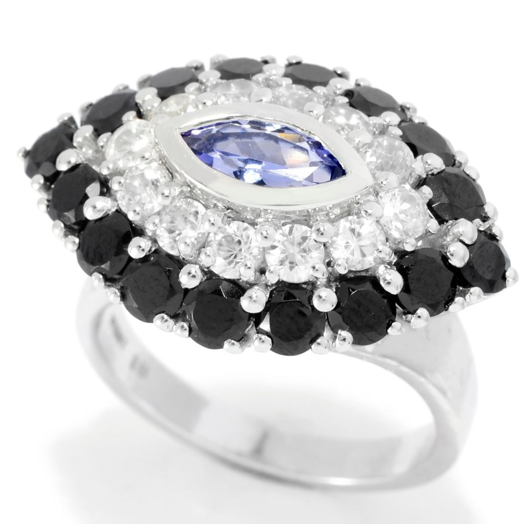 139-746 - Gem Treasures Sterling Silver 4.12ctw Tanzanite & Multi Gemstone Evil Eye Ring