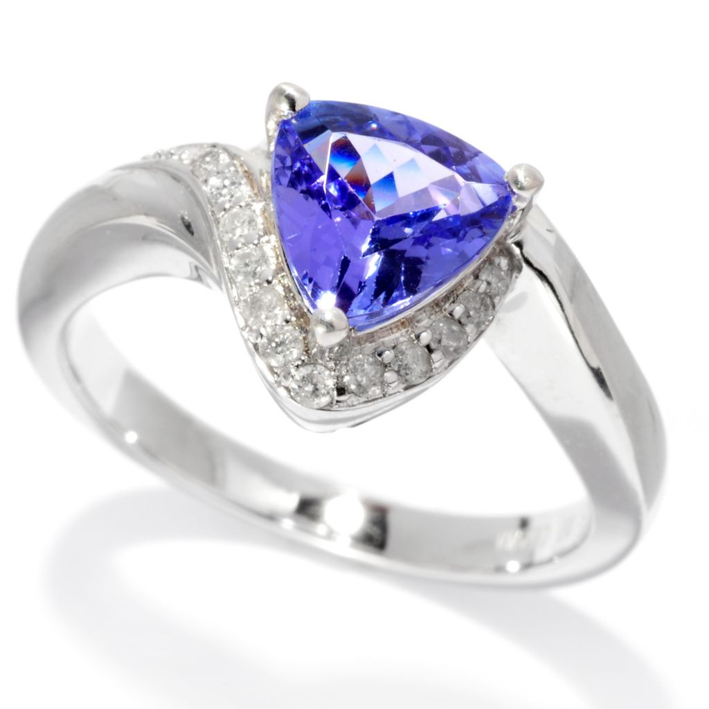 139-747 - Gem Treasures Sterling Silver 1.56ctw Trillion Tanzanite & Diamond Ring