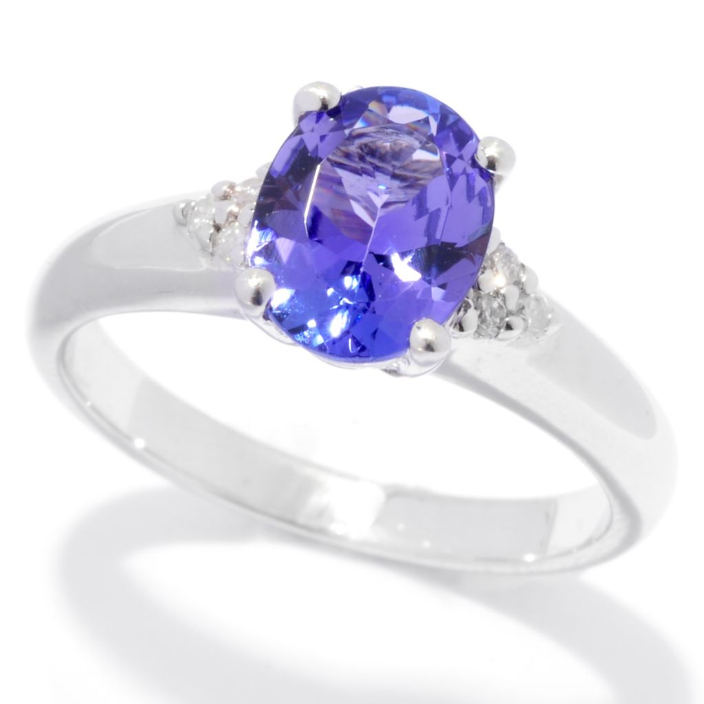 139-748 - Gem Treasures Sterling Silver 1.24ctw Oval Tanzanite & Diamond Ring