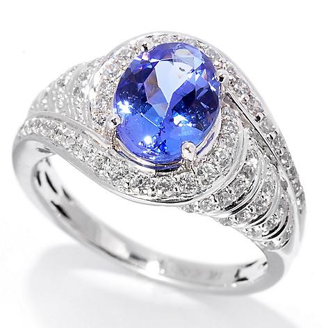 139-749 - Gem Treasures 14K White Gold 2.38ctw Tanzanite & White Zircon Curved Halo Ring