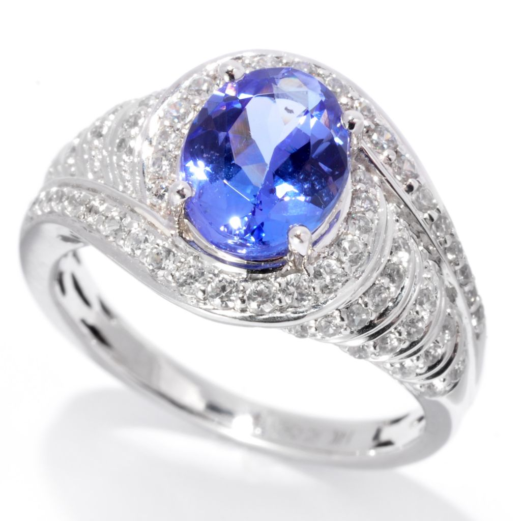139-749 - Gem Treasures 14K White Gold 2.38ctw Tanzanite & White Zircon Curved Halo Ring