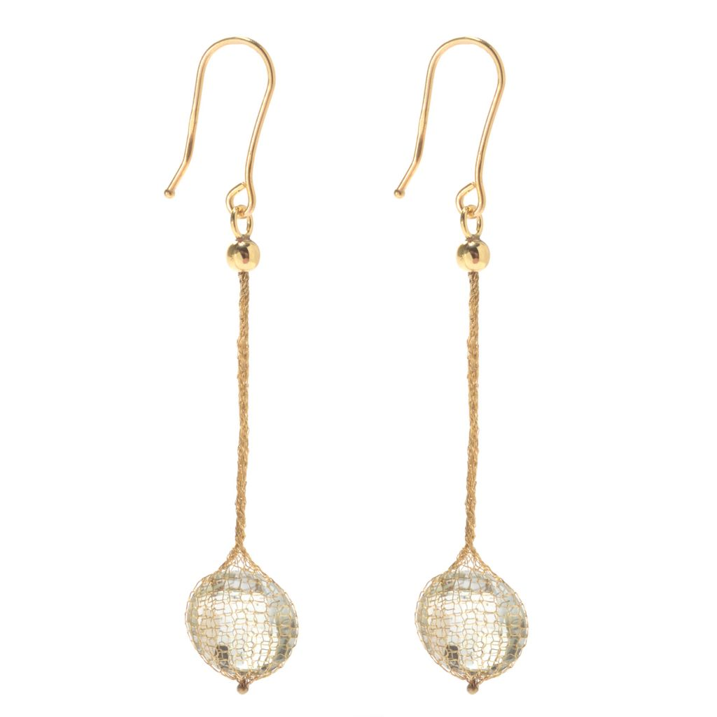 "139-755 - Italian Designs with Stefano 14K Gold 2"" 5.24ctw Quartz Mesh Drop Earrings"