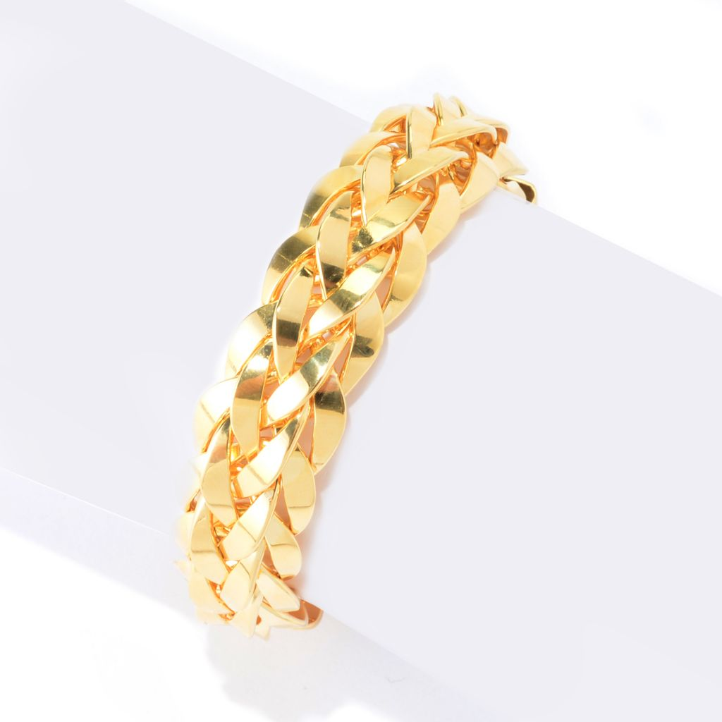 139-759 - Antalia™ Turkish Jewelry 18K Gold Embraced™ Tiger's Eye Woven Toggle Bracelet