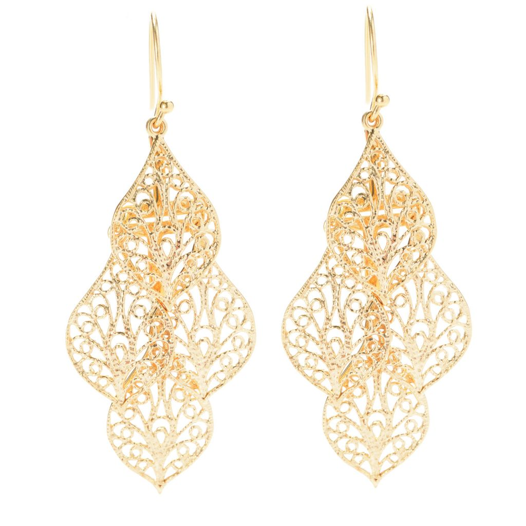 "139-760 - Antalia™ Turkish Jewelry 18K Gold Embraced™ 2.25"" Leaf Tiered Earrings"