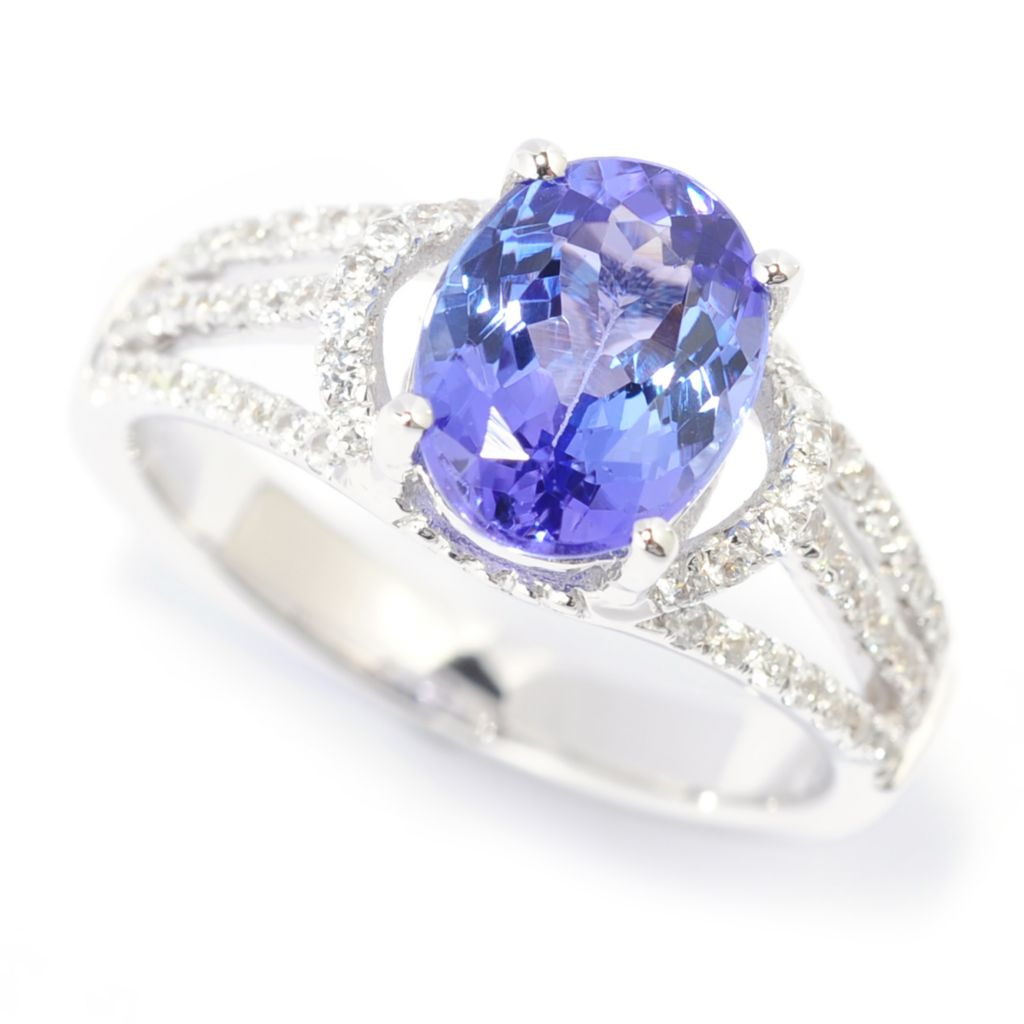 139-763 - Gem Treasures 14K White Gold 2.02ctw Tanzanite & White Zircon Split Shank Ring