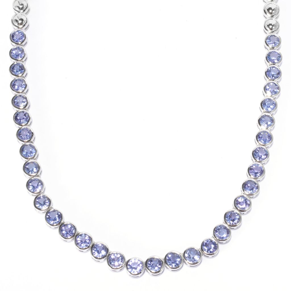 139-764 - Gem Treasures Sterling Silver Round Tanzanite Line Necklace
