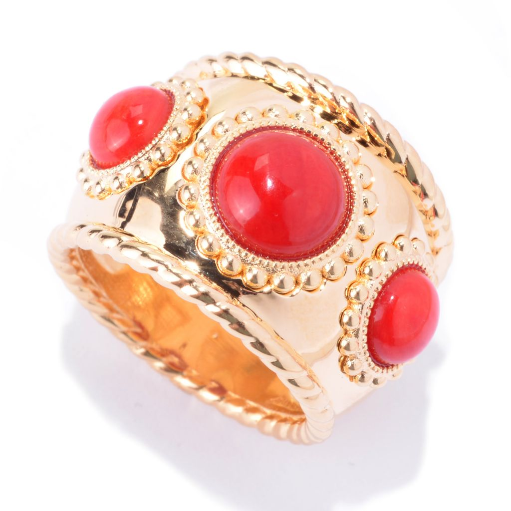 139-765 - Toscana Italiana 18K Gold Embraced™ Round Gem Three-Stone Etruscan Wide Band Ring