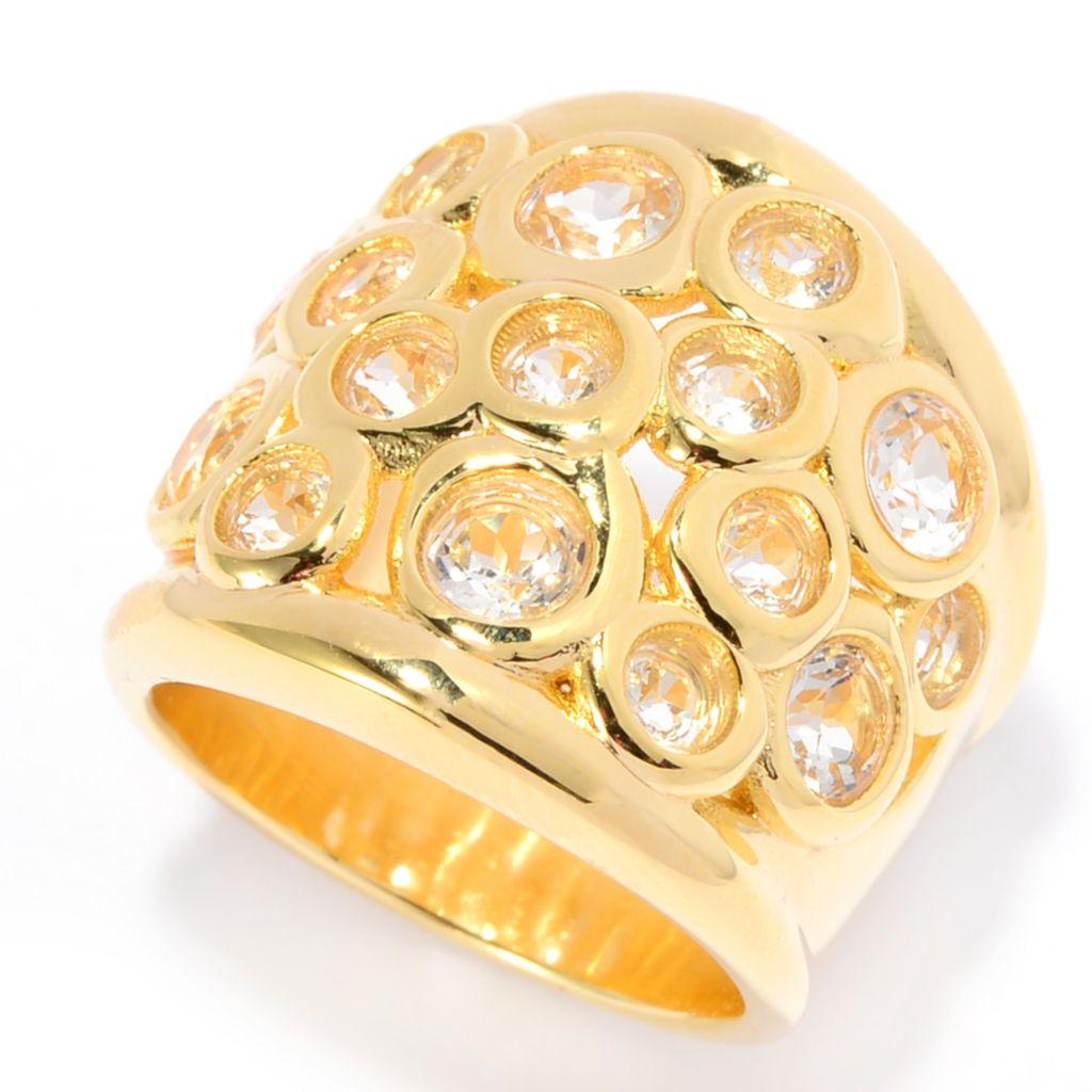 139-766 - Toscana Italiana 18K Gold Embraced™ 2.85ctw Bezel Set White Topaz Cluster Ring