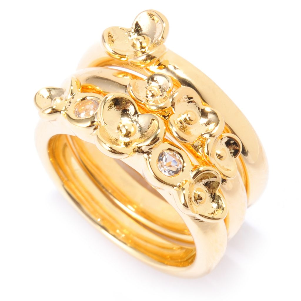 139-768 - Toscana Italiana Set of Three 18K Gold Embraced™ White Topaz Flower Stack Band Rings