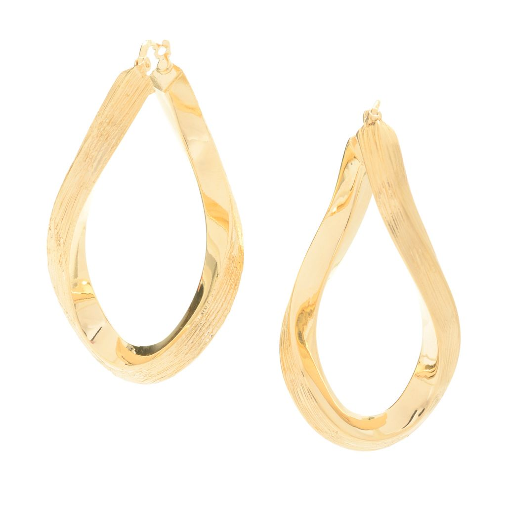 "139-769 - Toscana Italiana 18K Gold Embraced™ 1.75"" Brushed Twisted Oval Hoop Earrings"