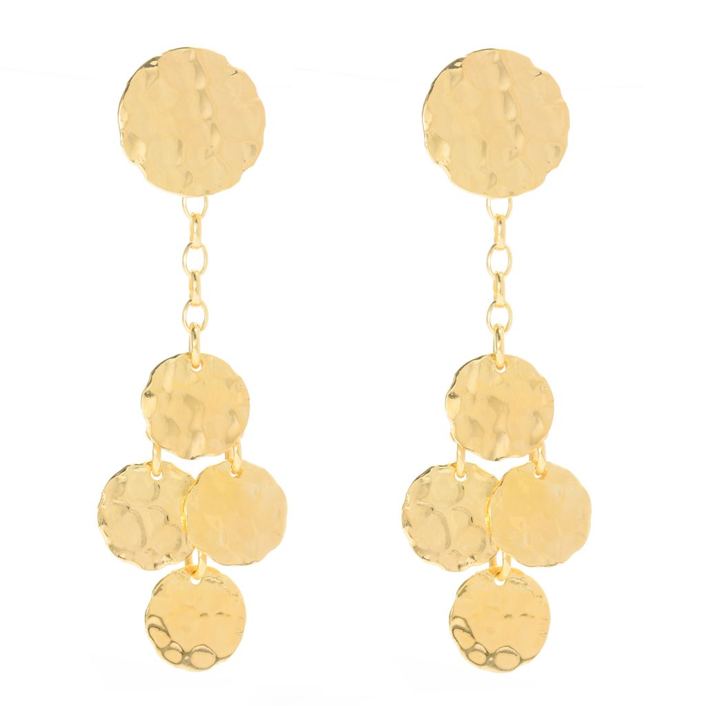 "139-770 - Toscana Italiana 18K Gold Embraced™ 2.5"" Hammered Tiered Disk Drop Earrings"