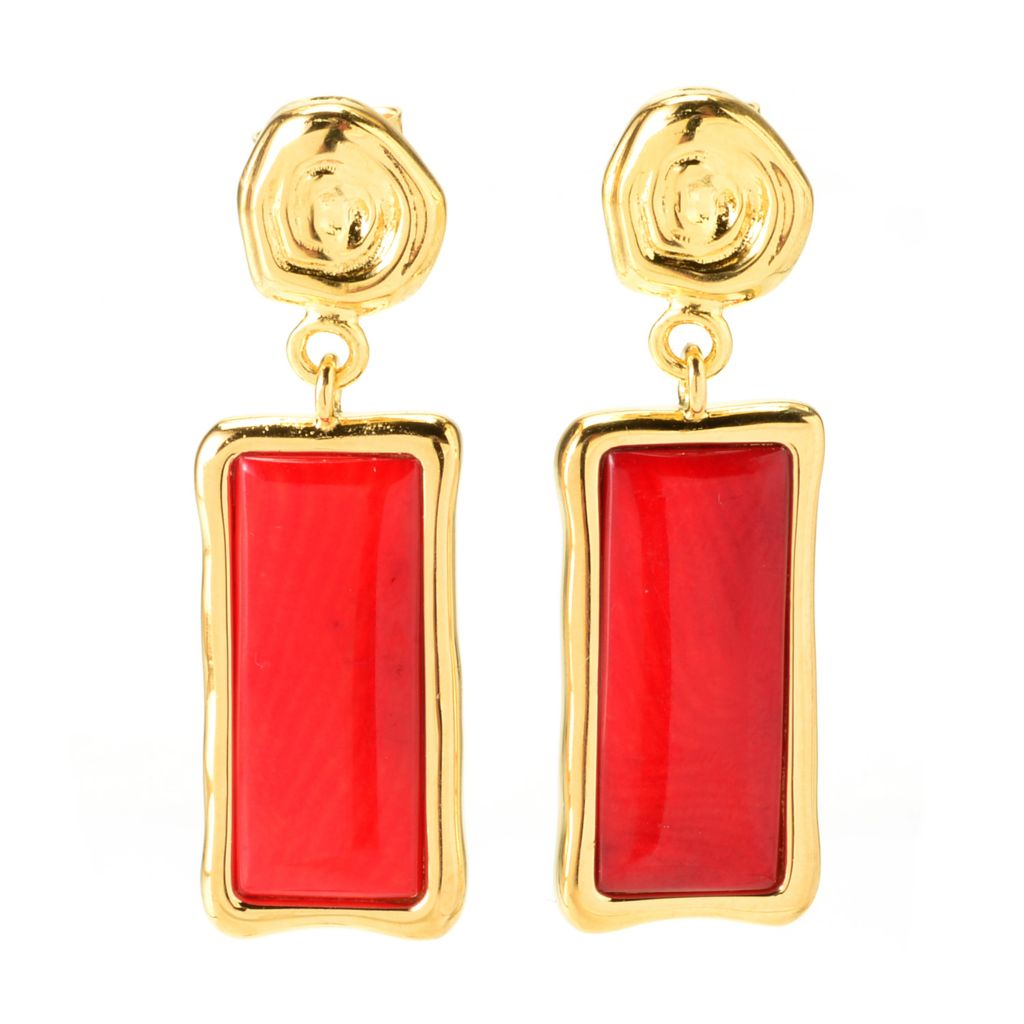 "139-771 - Toscana Italiana 18K Gold Embraced™ 1.5"" 20 x 8mm Elongated Gemstone Drop Earrings"