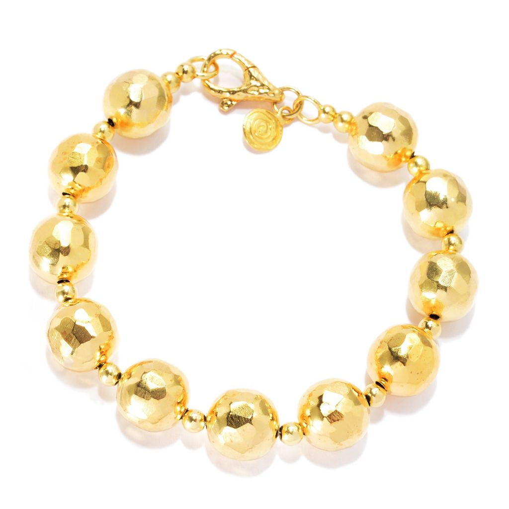 "139-774 - Toscana Italiana 18K Gold Embraced™ 8"" Hammered Bead Station Bracelet"