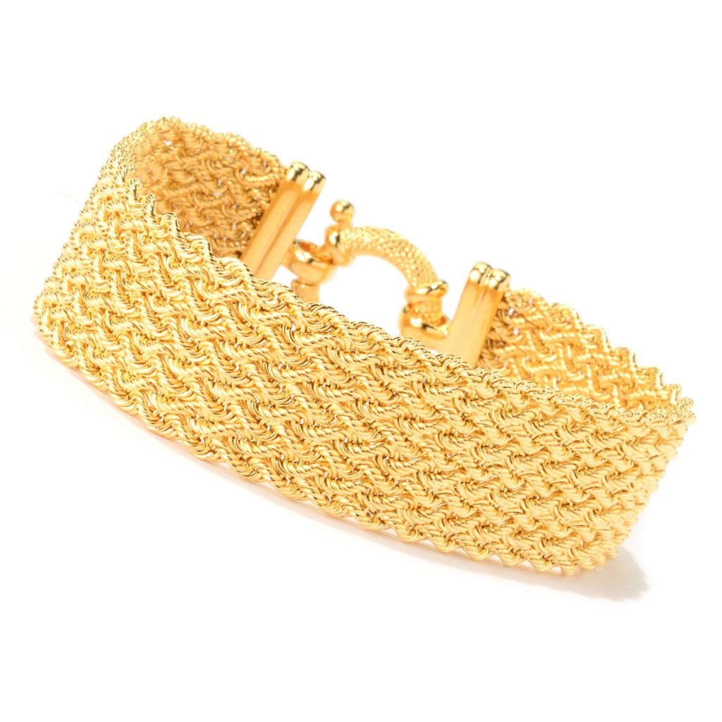 139-775 - Toscana Italiana 18K Gold Embraced™ Textured Braided Mesh Bracelet