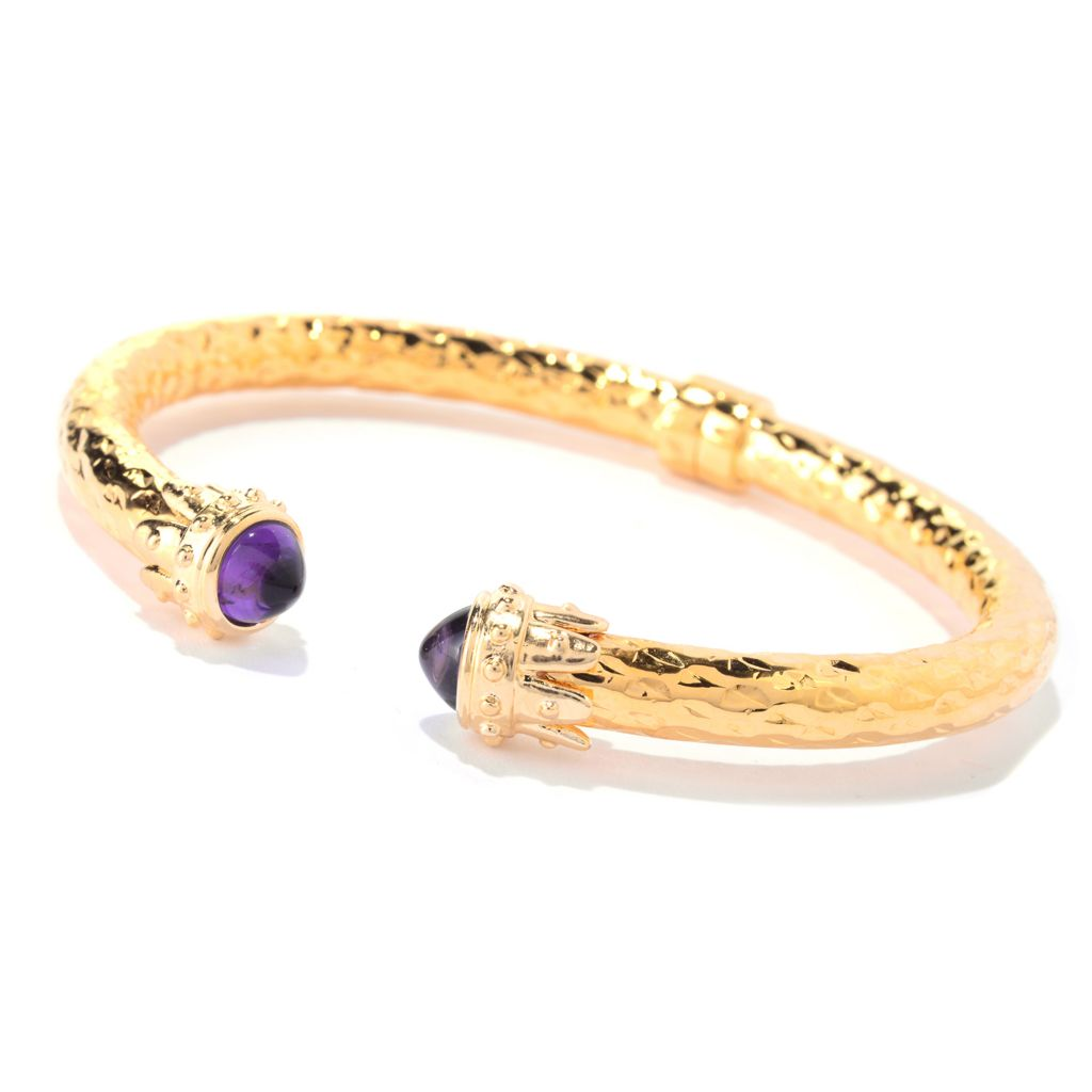 "139-776 - Toscana Italiana 18K Gold Embraced™ 6.75"" Gemstone Endcap Hinged Cuff Bracelet"
