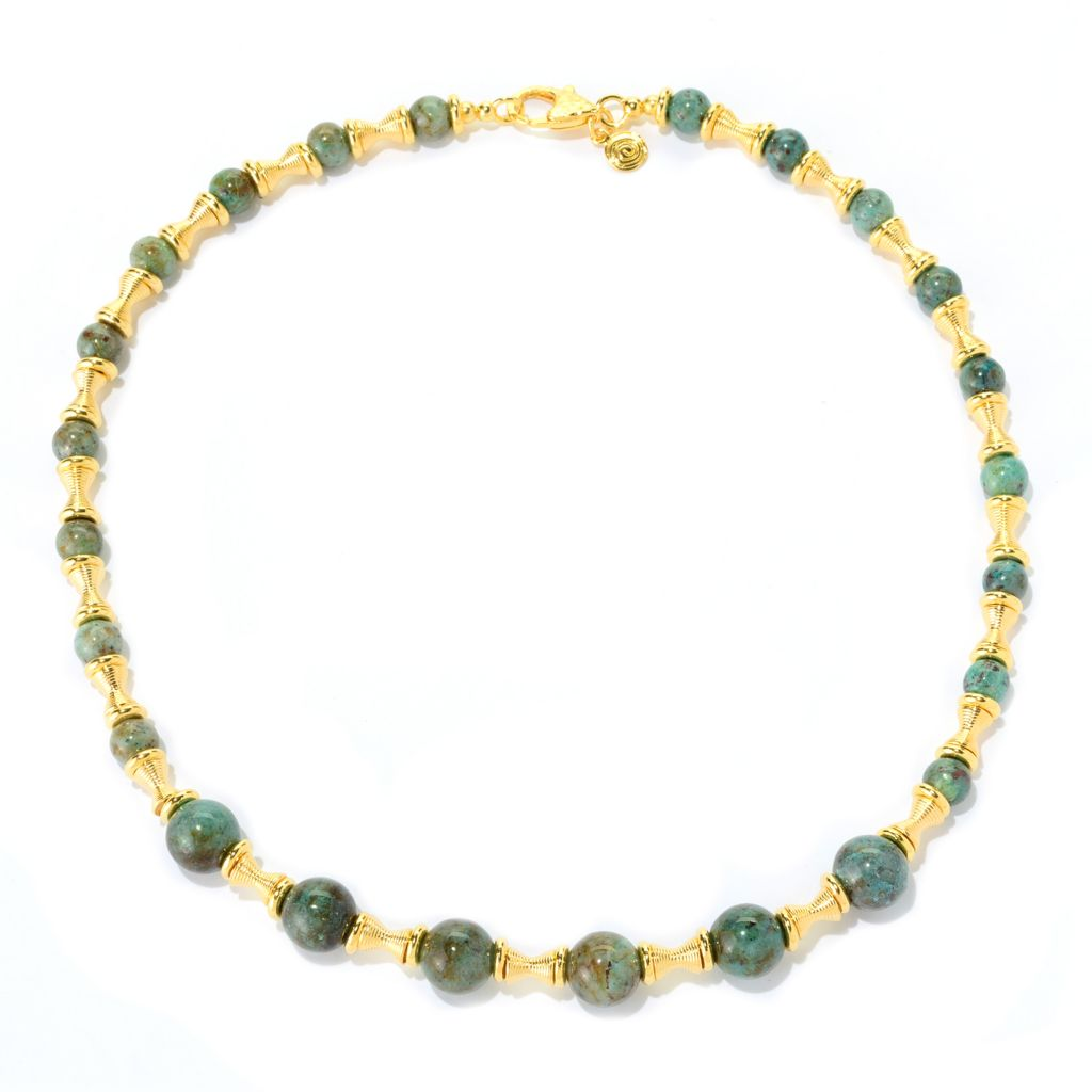 "139-777 - Toscana Italiana 18K Gold Embraced™ 20"" Chrysocolla Bead & Textured Station Necklace"