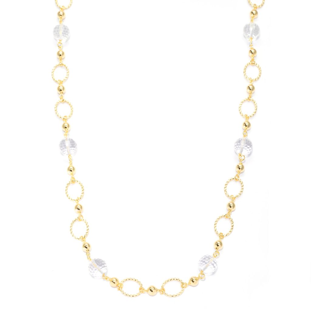 "139-778 - Toscana Italiana 18K Gold Embraced™ 34"" 12mm Crystal Quartz Bead Station Necklace"