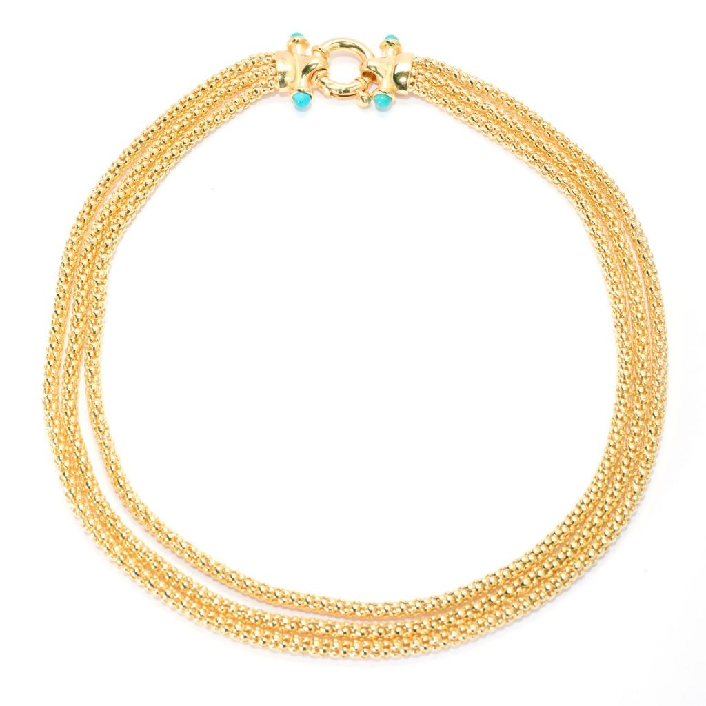 "139-779 - Toscana Italiana 18K Gold Embraced™ 18"" Turquoise Three-Strand Coreana Necklace"