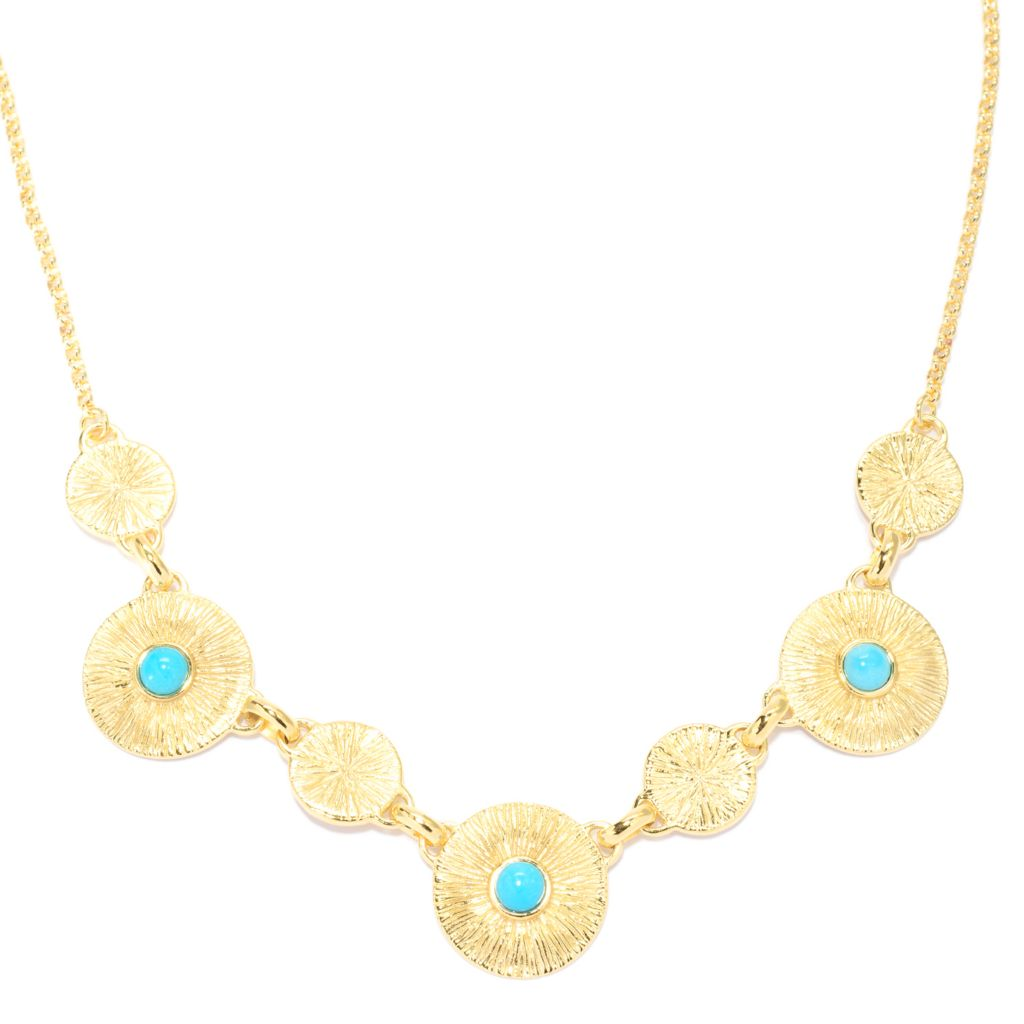 "139-780 - Toscana Italiana 18K Gold Embraced™ 20"" Turquoise & Brushed Station Rolo Link Necklace"