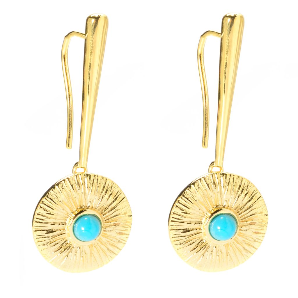 """139-781 - Toscana Italiana 18K Gold Embraced™ 1.5"""" Turquoise Brushed Disk Drop Earrings"""