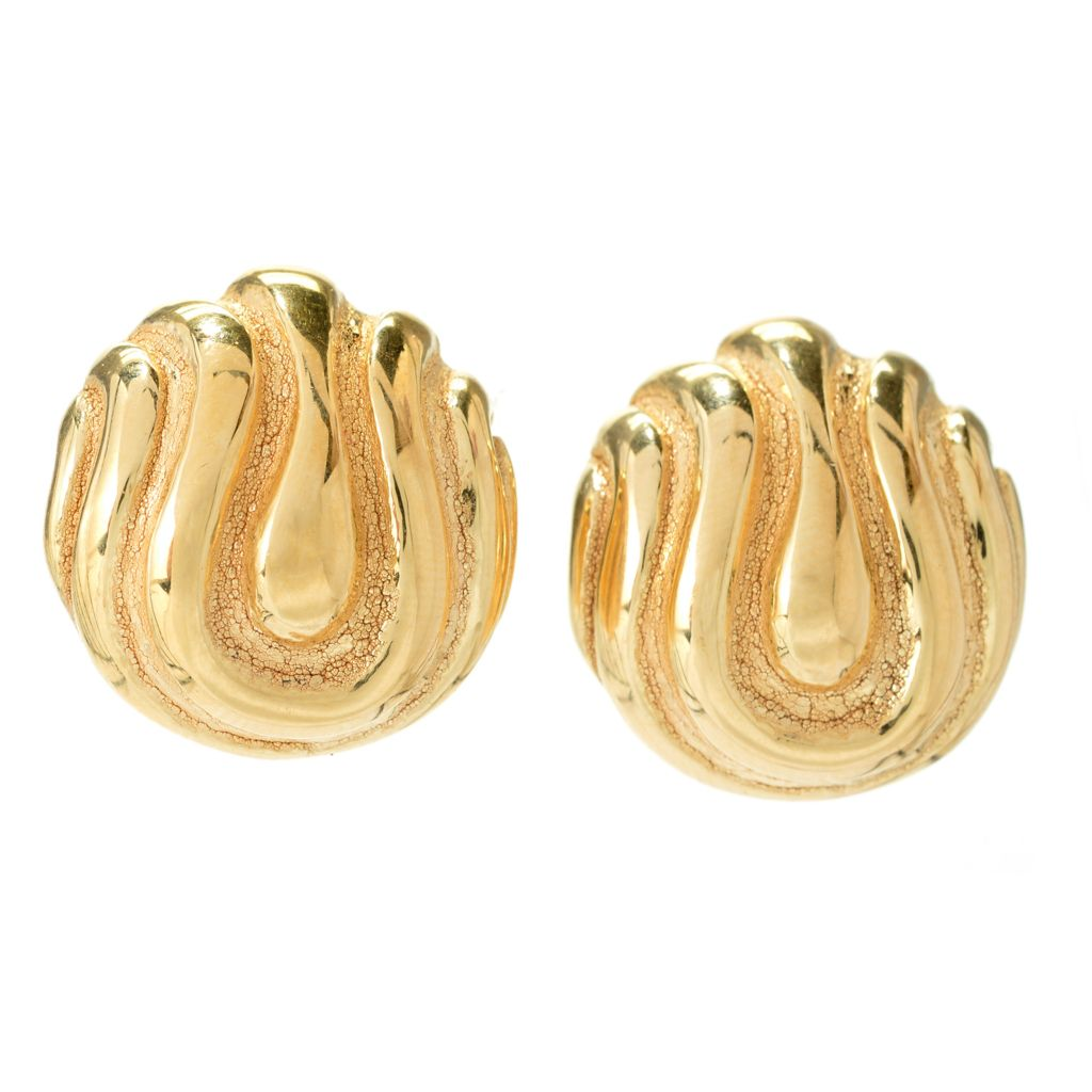 139-782 - Toscana Italiana 18K Gold Embraced™ Polished & Brushed Button Earrings w/ Omega Backs