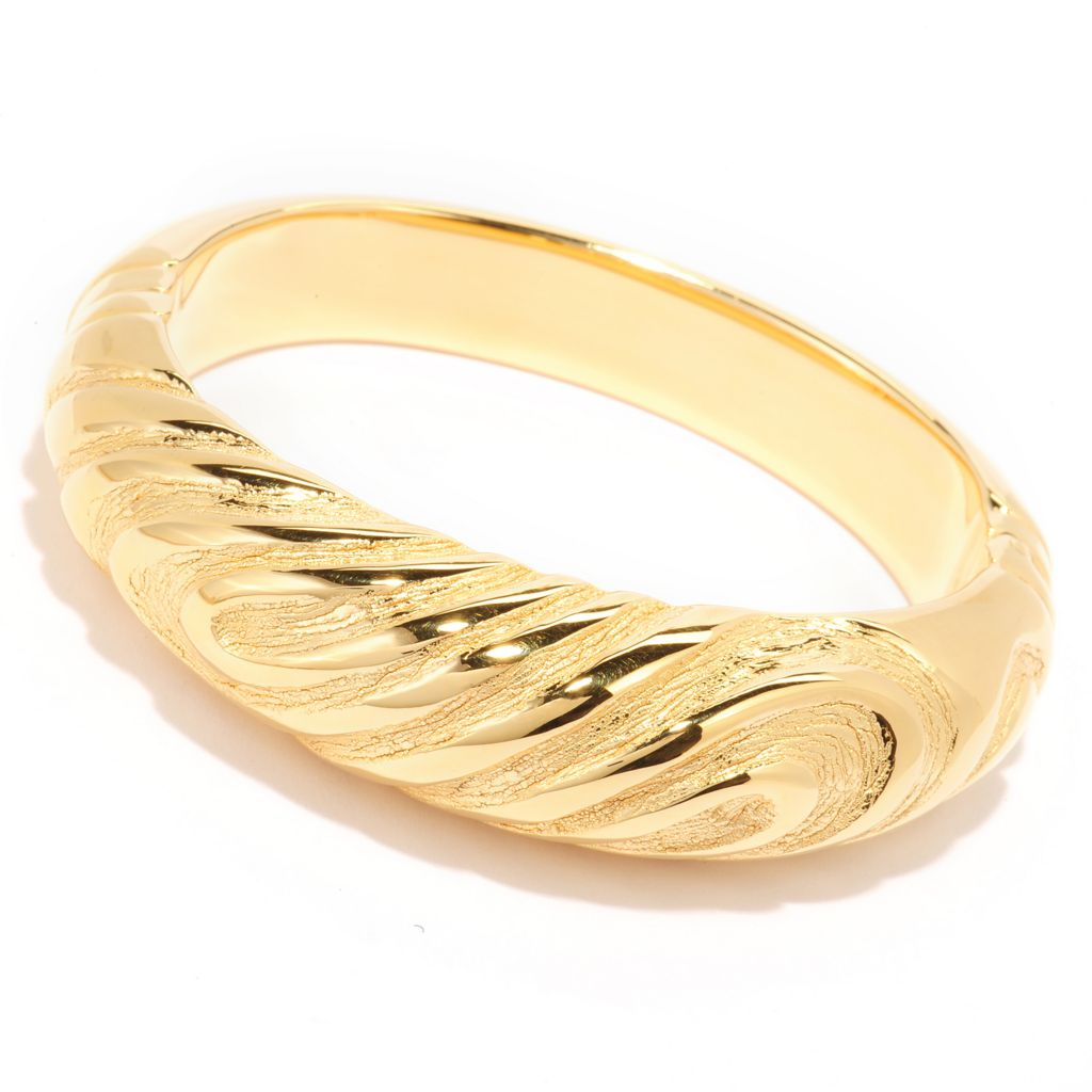 139-784 - Toscana Italiana 18K Gold Embraced™ Polished & Brushed Hinged Bangle Bracelet