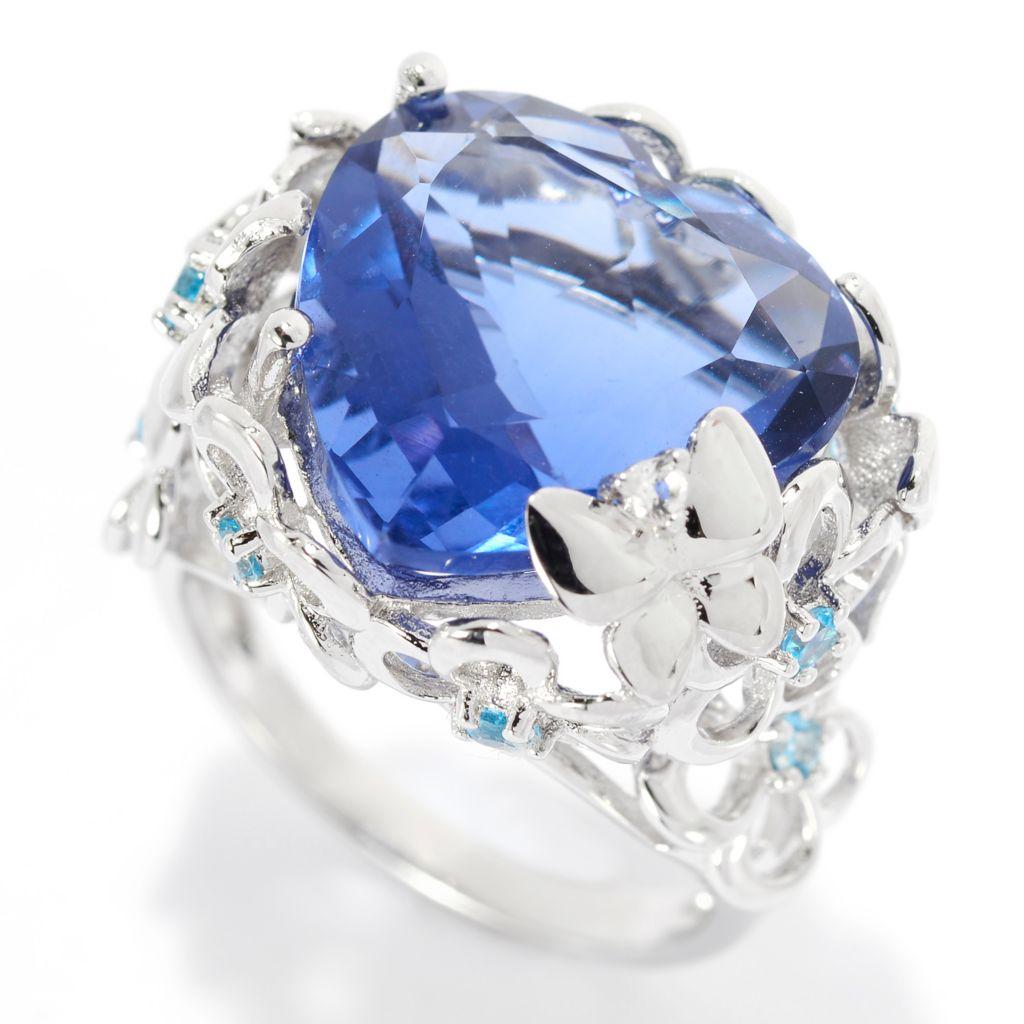 139-789 - Gem Treasures Sterling Silver 11.03ctw Blue Fluorite & Multi Topaz Heart Ring