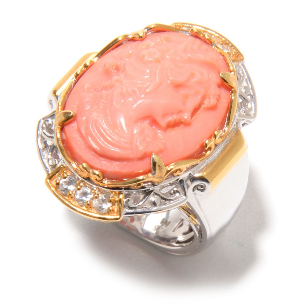 139-791 - Gems en Vogue 20 x 15mm Carved Bamboo Coral Portrait Cameo & White Zircon Ring