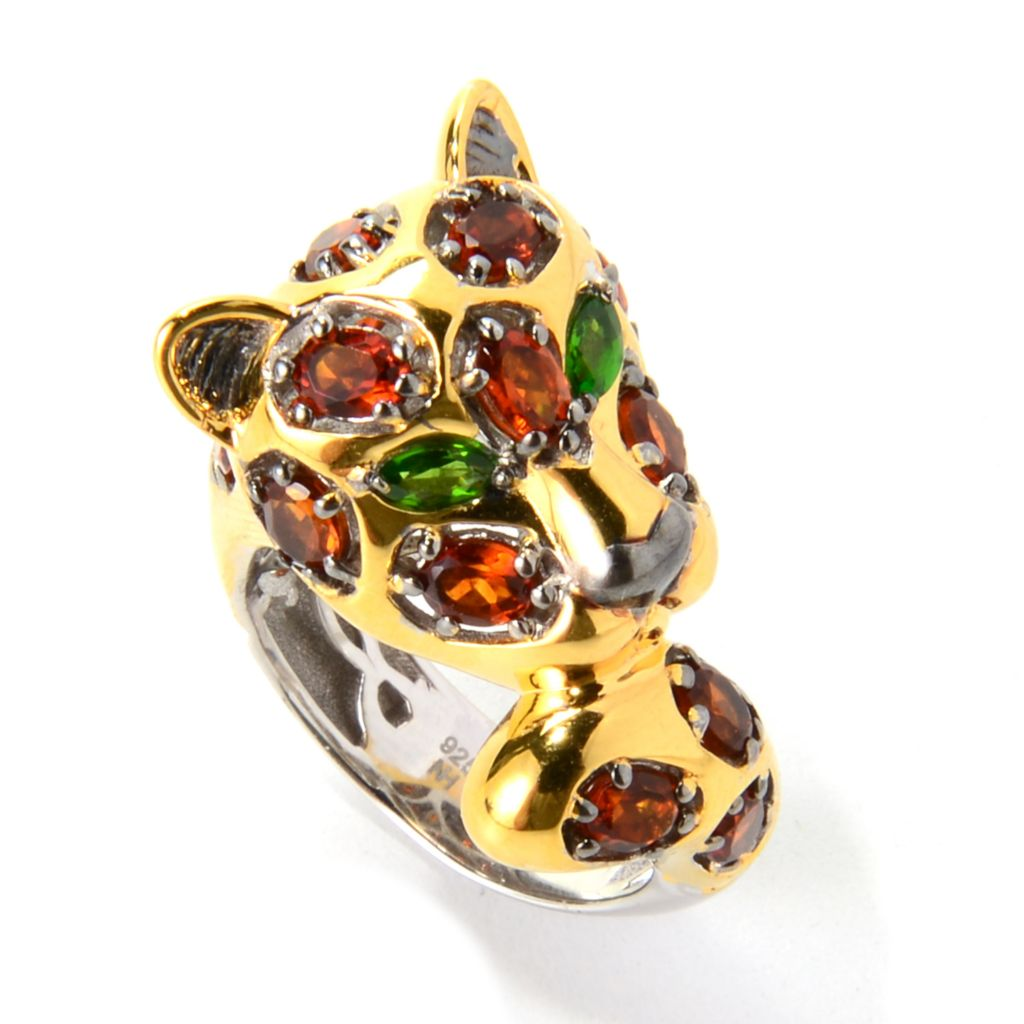 139-793 - Gems en Vogue 3.30ctw Madeira Citrine & Chrome Diopside Spotted Leopard Ring